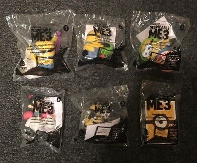 McDonald's 2017 DESPICABLE ME 3 Semi-Complete Set of 6 MINIONS Toys Brand New