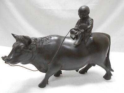 Vintage Bronze READING BOY ON CATTLE COW Statue Farm Animal Japanese MARKED #54