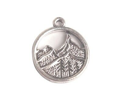 Jewelry Making 10PCS/30Pcs Antiqued silver metal Mountain Round Charms 20mm