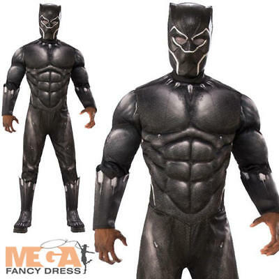Deluxe Black Panther Mens Fancy Dress Avengers Infinity War Adults Costume New