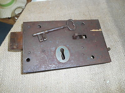 "Salvaged Antique Victorian 8.1/4"" x 5 Steel Case Church Door Type Lock & key"