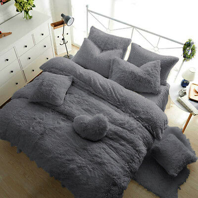 Teddy Bear Fleece Duvet Cover Warm Cozy Fitted Sheet + Pillow Case Silver Grey