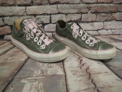 Women's Converse All Star Slip On Tennis Shoes Gray & Pink Size 7 Glitter