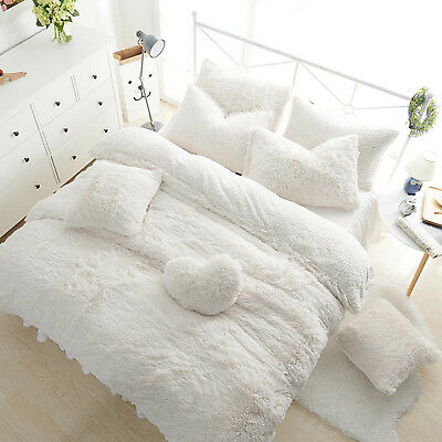 Teddy Bear Fleece Duvet Cover Warm Cozy Fitted Sheet + Pillow Case White