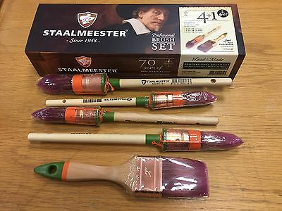 "Staalmeester 5pce Paint Brush Set 1x23mm, 14mm, 2x29mm Pointed Sash + 1x2"" Flat"
