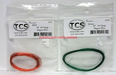 TCS~34 Gauge Magnet Wire~#1315,1316~Red & Green~NOS~20'Long~For Motors