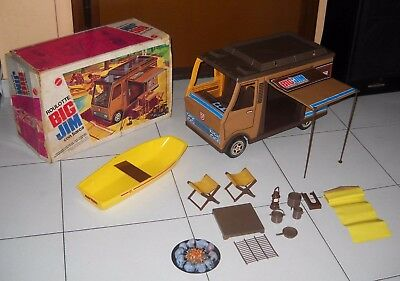 BIG JIM CARAVAN with BOAT in box EXCELLENT Mattel 1974 Camper Big Jack