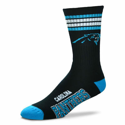 Carolina Panthers Adult 4 Stripe Deuce Team Color Socks-1pair-Large New Free S/H
