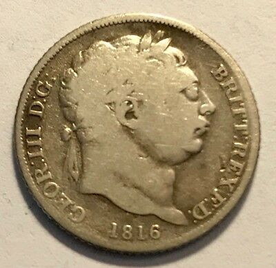 GREAT BRITAIN - George III - Sixpence 1816 - 1st Year - KM-665 - FREE SHIPPING!