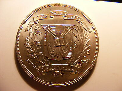 Dominican Republic 1974  Large Silver 1 Peso, KM#35, Choice BU, Really Nice Coin