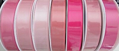 10mm 15mm 25mm 35mm BERISFORDS DOUBLE SATIN RIBBON SOLD BY THE METRE PINK SHADES