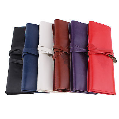 Retro Leather Roll Pen Pencil Case Make Up Cosmetic Brush Holder Pouch Purse Bag
