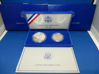 1986 Statue of Liberty Commemorative Proof Silver Dollar and Half Dollar Set