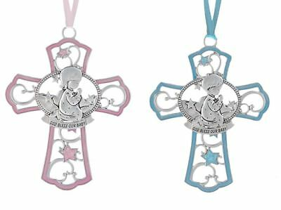 Crib Cross Medal Medallion Crucifix Religious Girl Pink Boy Blue Nursery Decor