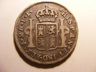 Chile 1806-JF Silver 2 Reals, KM#59, Fine with no issues