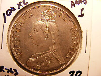 Great Britain 1887 Large Silver Double Florin, KM#763, Arabic 1, XF