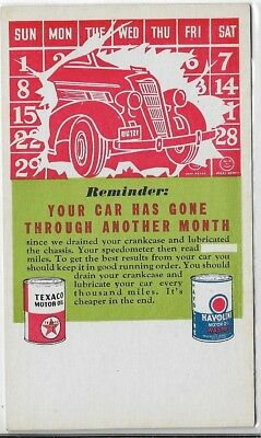 TEXACO-Reminder Card-Your car has gone through another month