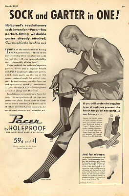 1938 vintage AD Holeproof PACER Mens Socks with Garters attached, Hosiery 061418