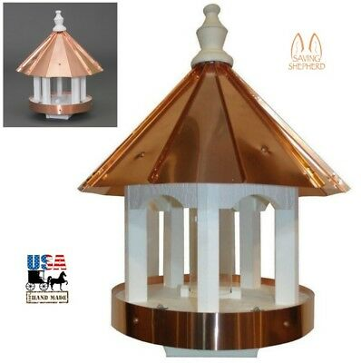 """24"""" COPPER TOP BIRD FEEDER - Post Mount Ventilated Drains Amish Handmade in USA"""