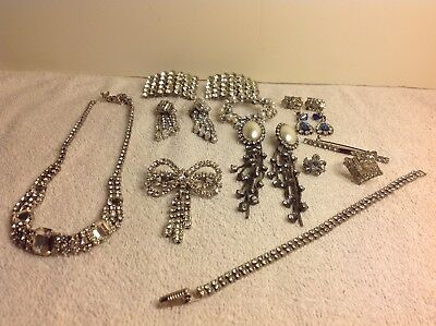 Lot of Antique Vintage  RHINESTONE Jewelry Shoe Buckles, Necklaces Ring, Earring
