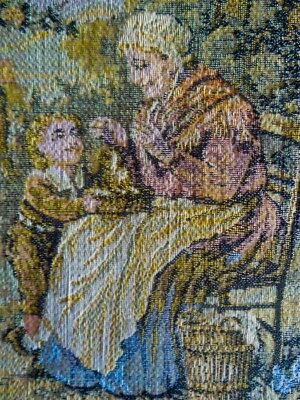 French aubusson antique figural-pictoral tapestry fabric panel Creuse verdure