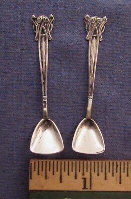 Two Antique 830 Silver Salt Spoons Maker Unknown