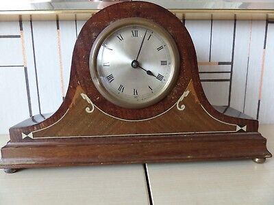 Lovely Inlaid Wooden Cased Mantle Clock In Great Running Condition & Keeps Time