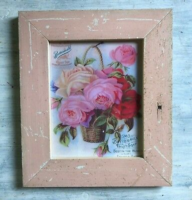 """1890's Antique Wood Picture Frame 8"""" x 10"""" Mauve Reclaimed Wooden 337-18"""
