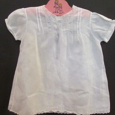 Vintage Baby Dress White Handmade in Philippines Handwork Embroidered
