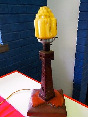 LIGHTHOUSE LAMP - CHIP CARVED POKERWORK - AUSTRALIANA - ORIGINAL - Approx 1920's