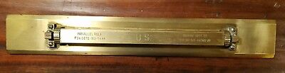 Antique MARINE INST. CO. Nautical Brass Parallel Rule Rolling Ruler US Navy