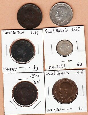Great Britain; 6 pc Lot Misc. Coins; 3- 1/2ds; Florin; 6d; 1918 Penny