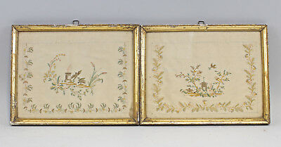 8215001 Pair Baroque Embroidery Pictures End 18.jh. Framed