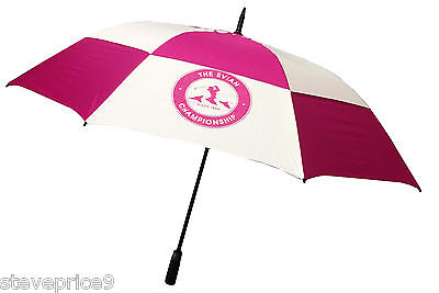 Brand New Ladies Pink / White Golf Umbrella. The Evian Championship Crested.