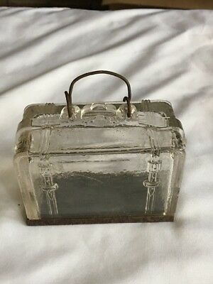 """Htf-1906 Glass Suitcase Candy Container """"pat Appl'd For"""" Westmorland Specialty"""