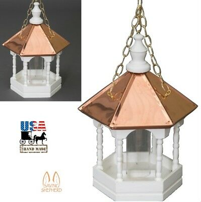 """22"""" COPPER TOP BIRD FEEDER - Hanging Gazebo with Spindles Amish Handmade in USA"""