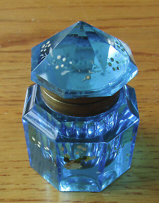 Pretty Bright Blue Transparent Glass Antique Inkwell, hinged lid, painted design