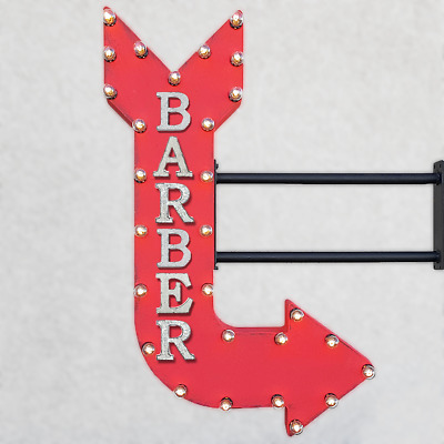 """36"""" Double Sided BARBER Shop Hair Cuts Salon Metal Arrow Marquee Light Up Sign"""