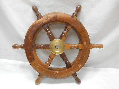 Vintage Small Ship's Wheel 46cm Wooden Japanese Nautical Maritime #88