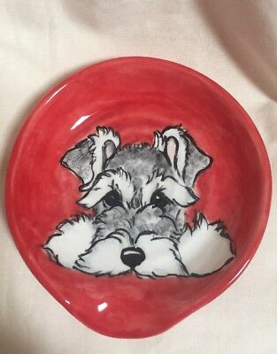Schnauzer Terrier Hand Painted Kiln Fired Ceramic Spoon Rest By Darci