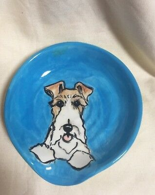 Fox Terrier Hand Painted Kiln Fired Ceramic Spoon Rest By Darci