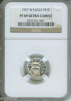 1997-W $10 PLATINUM EAGLE STATUE LIBERTY NGC PR69 PROOF PF69 1/10 Oz. !!