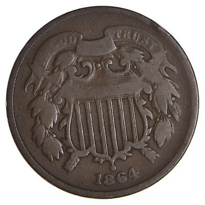 1864 TWO Cent Piece - 1st Year Issue - 1st Appearance of In God We Trust! *030