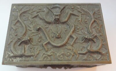 Antique Mark Chinese Wooden Box Wrapped in Heavy Bronze Dragon Decorated RARE