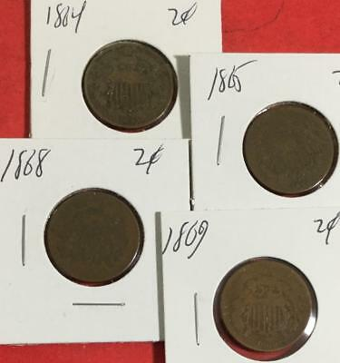 1864 1865 1868 & 1869 US TWo Cent Pieces SEt of 4 Carded Coins!