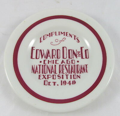 1940 Plate Advertising Compliments Edward Don&Co National Restaurant Exposition
