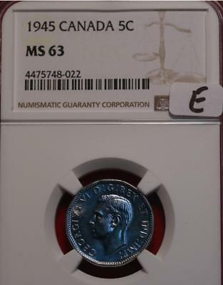 1945 Canada 5 Cents Foreign Coin NGC Graded MS 63