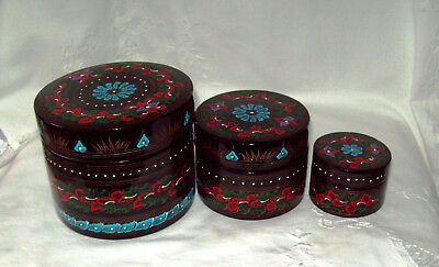 Three Paper Mache Indian Beautiful Round Boxes