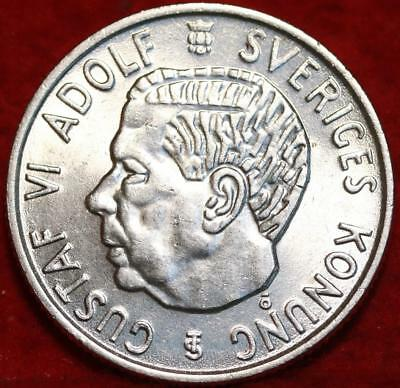 Uncirculated 1954 Sweden 2 Kroner Silver Foreign Coin