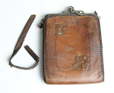 Antique Molded Leather Arts & Crafts Purse Circa Early 1900's
